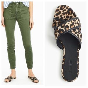 J. Crew leopard hair calf slides